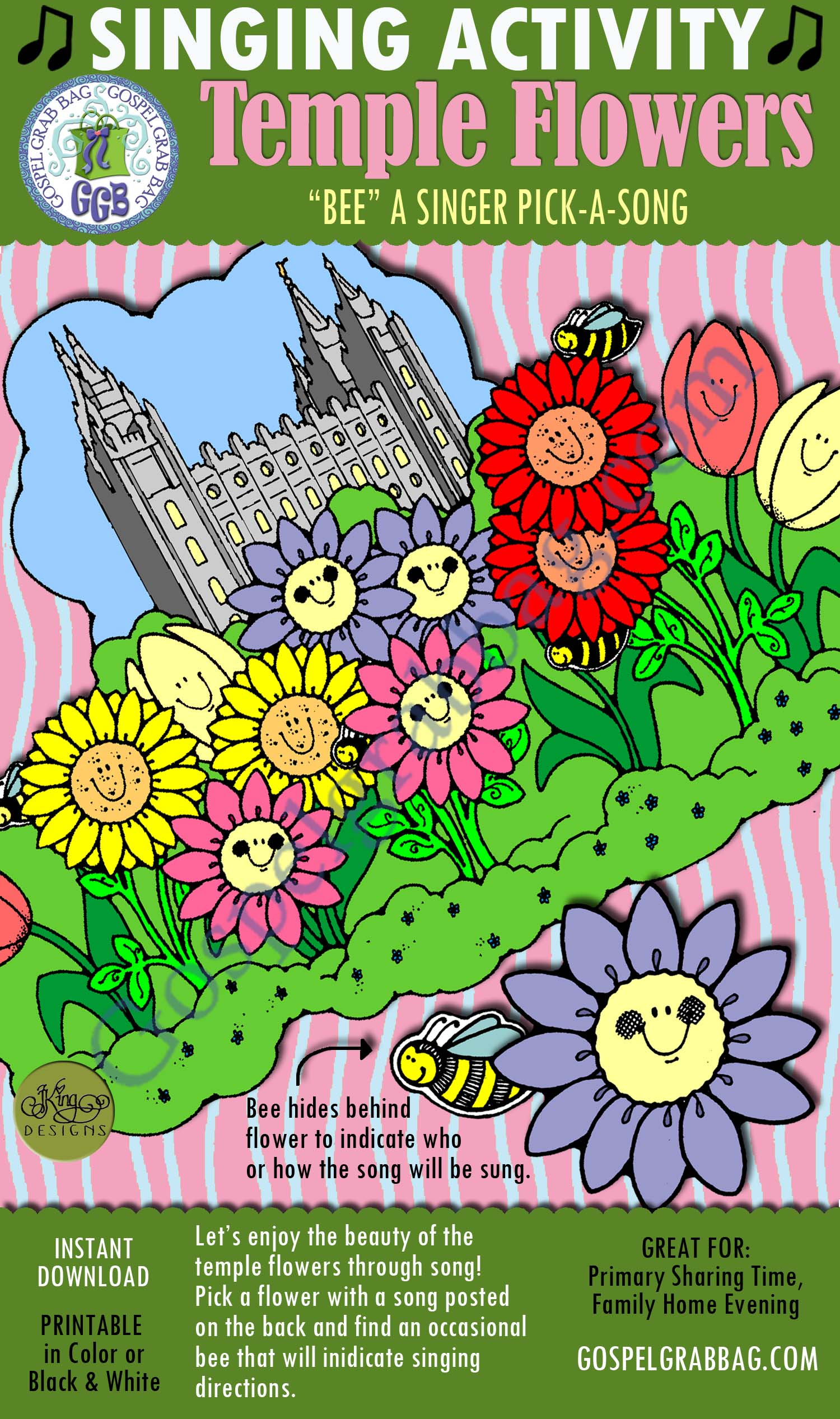 """$3.00 TEMPLE FLOWERS """"Bee"""" a Singer pick-a-song: Primary Music Singing Time Activities to Motivate Children to Sing, download from GospelGrabBag.com"""