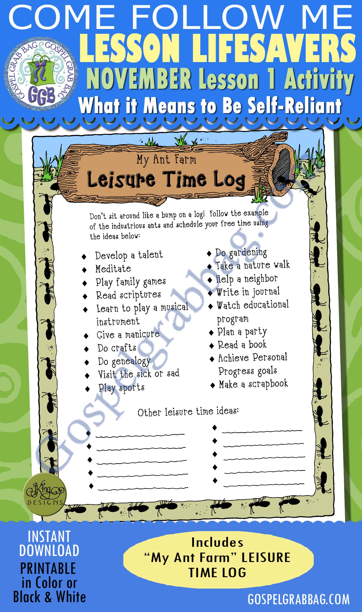 work self reliance activity my ant farm leisure time activity log