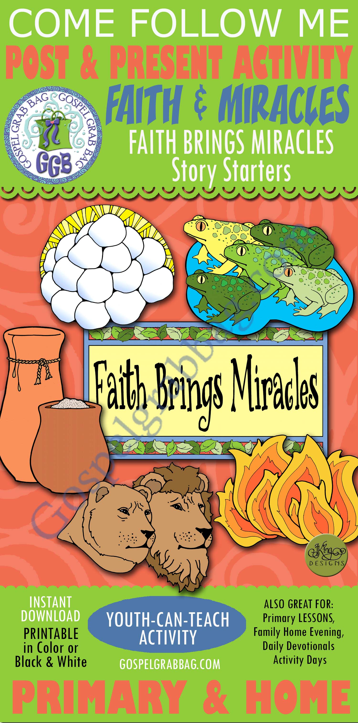 FAITH Post-and-Present Activity: Faith Brings Miracles - 5 Story Starters  for Come, Follow Me - Primary and Home (family home evening) LDS printables
