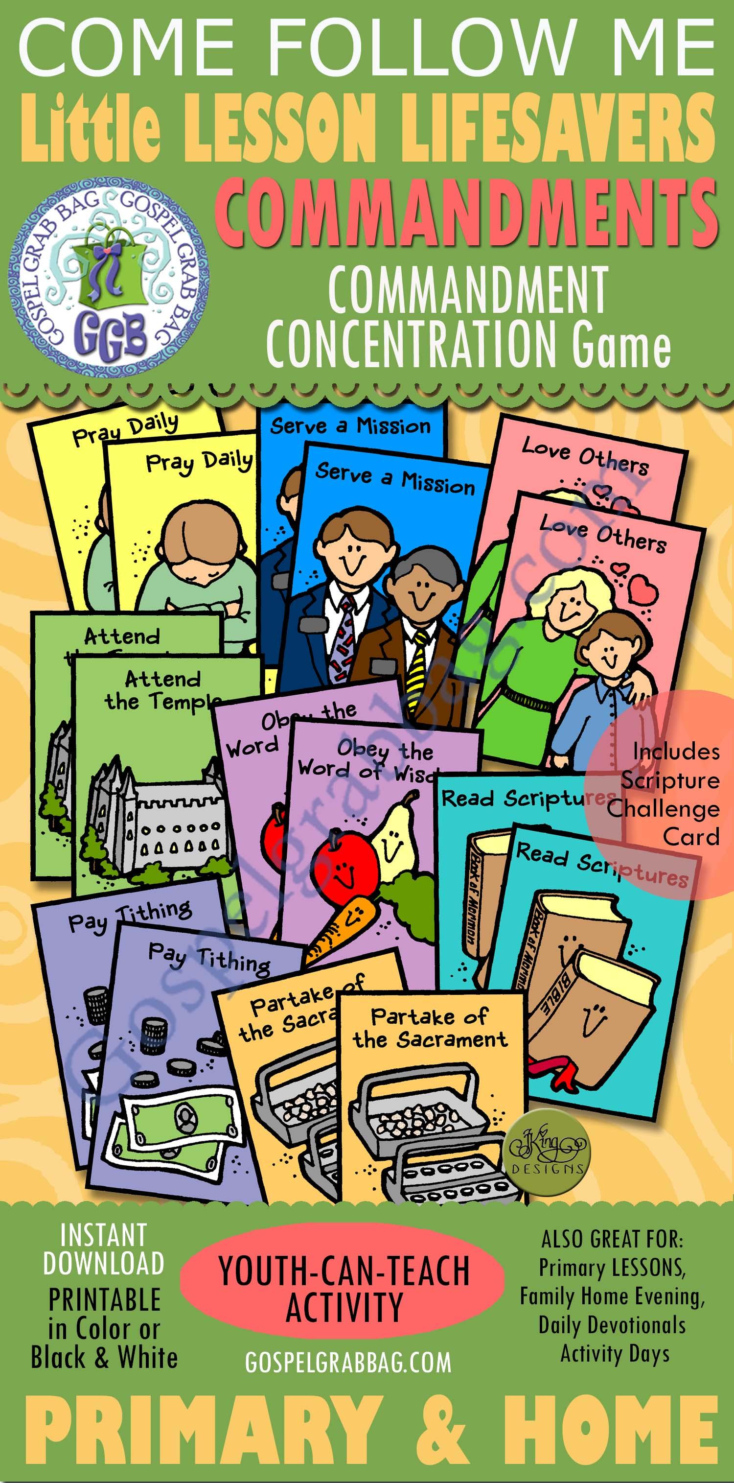 Commandments: Obtaining the Brass Plates, Primary 4 manual, Book of Mormon  Lesson 3 - Gospel Grab Bag