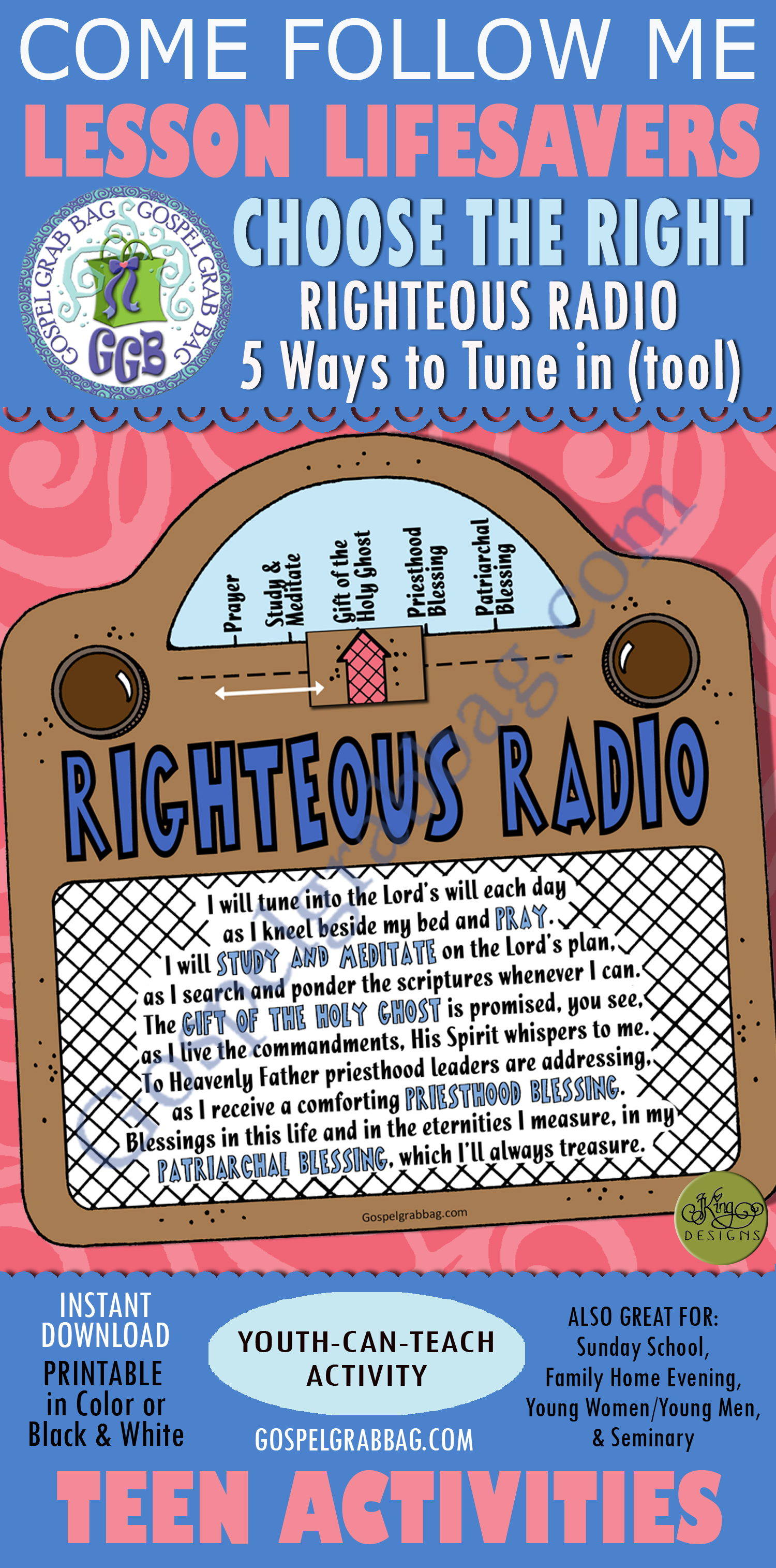 Choices, Follow Prophet: LESSON LIFESAVER Activity: Righteous Radio 5-Way  Tune In tool, Come Follow Me lesson handout - Gospel Grab Bag